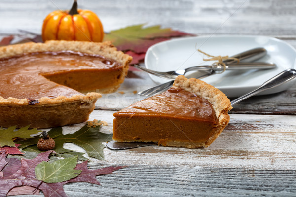 Homemade pumpkin pie for the special Autumn holidays Stock photo © tab62