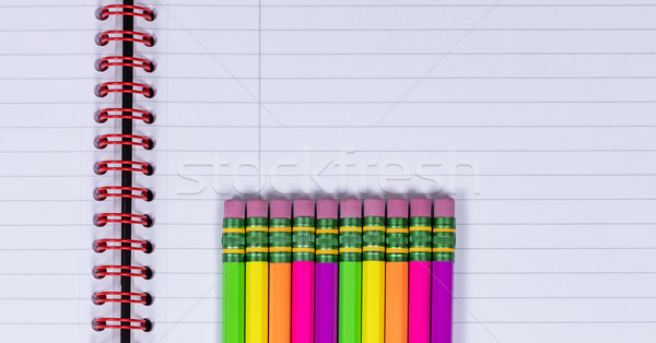 Lápis apagador dicas caderno colorido Foto stock © tab62