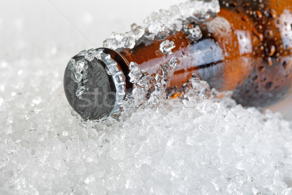 Close up view of an ice cold beer bottle neck and cap  Stock photo © tab62