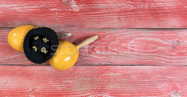 Traditional maracas and sombrero for Cinco de Mayo holiday celeb Stock photo © tab62