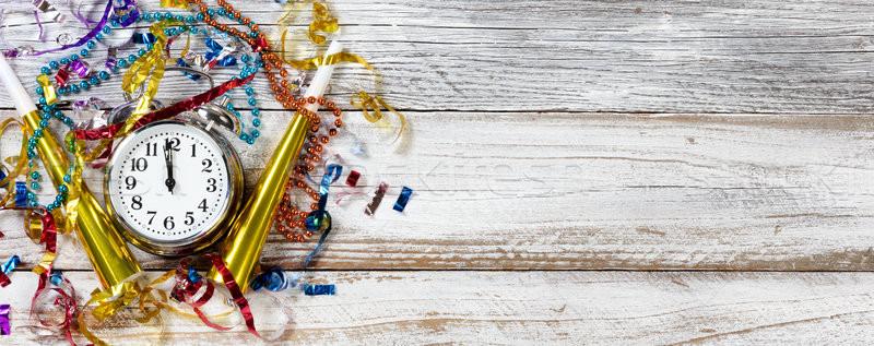 полночь Новый год празднования вечеринка объекты часы Сток-фото © tab62