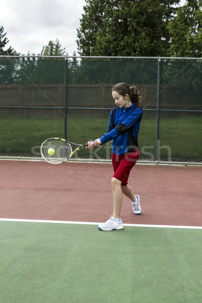 Tennis two handed Backhand for Lefthanded Player Stock photo © tab62