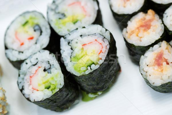 Stock fotó: Szusi · tekercsek · tányér · közelkép · vízszintes · felső