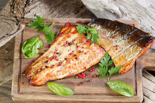 Freshly Smoked Salmon in natural wooden setting  Stock photo © tab62