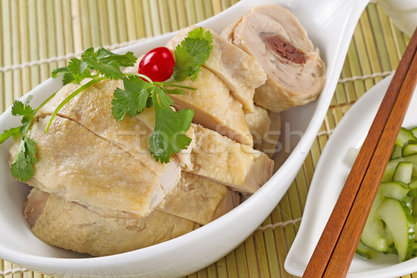 Asian Roasted Chicken in White Bowl  Stock photo © tab62
