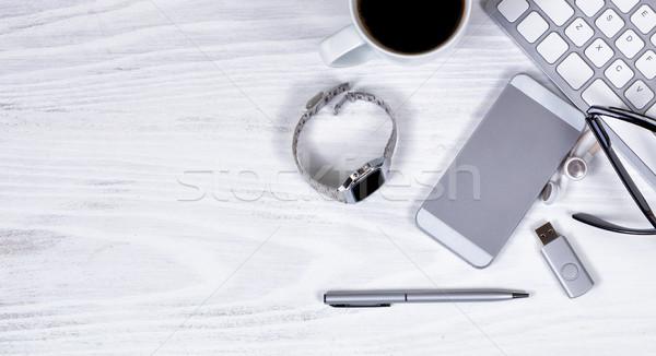 Stock fotó: Modern · technológiák · fehér · asztali · kilátás · munka