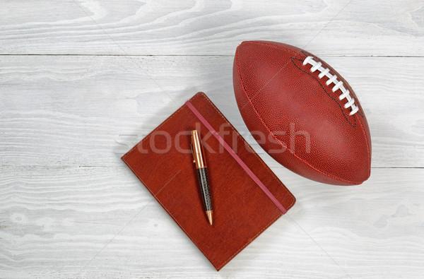 Voetbal rustiek witte hout afbeelding uitvoerende Stockfoto © tab62