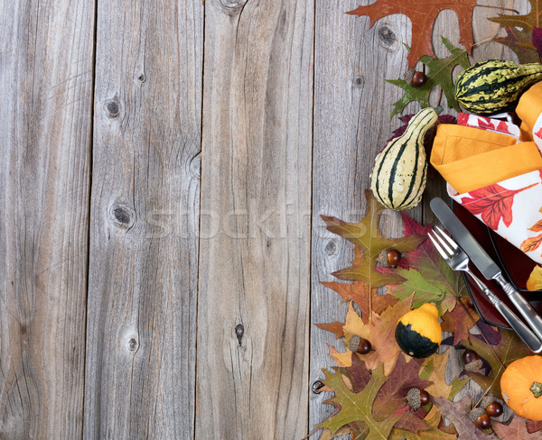 Dinner setting for fall season with gourd decorations and leaves Stock photo © tab62