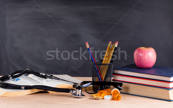 Desktop in classroom ready to learn to become a medical doctor  Stock photo © tab62