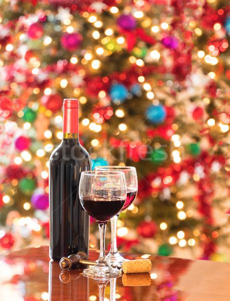 Célébrer fêtes vin rouge table vacances célébration Photo stock © tab62
