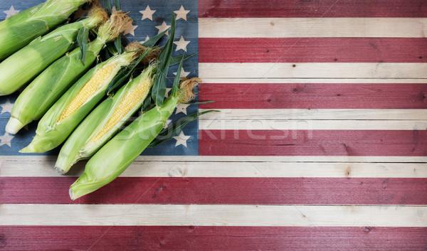 Taze mısır ahşap bayrak Amerika Birleşik Devletleri rustik Stok fotoğraf © tab62