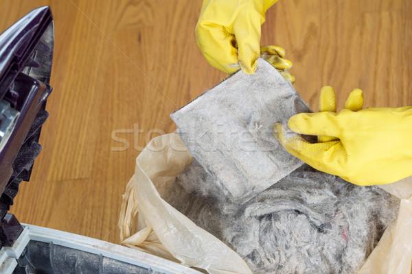 Stockfoto: Schoonmaken · stofzuiger · filteren · horizontaal · foto · handen