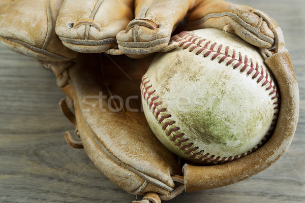 Old Baseball and Glove on Faded Wood  Stock photo © tab62
