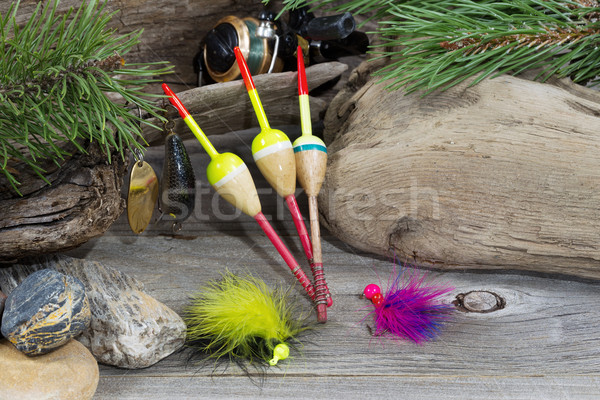 Stock photo: Fishing equipment with objects from nature