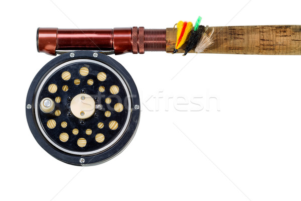 Antique fly reel and rod on white background  Stock photo © tab62