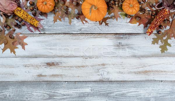 ősz díszítések rusztikus fehér fa felső Stock fotó © tab62