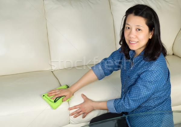 Rijpe vrouw schoonmaken sofa vod horizontaal foto Stockfoto © tab62