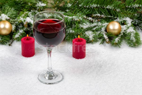 赤ワイン クリスマス オブジェクト カバー 新鮮な 雪 ストックフォト © tab62