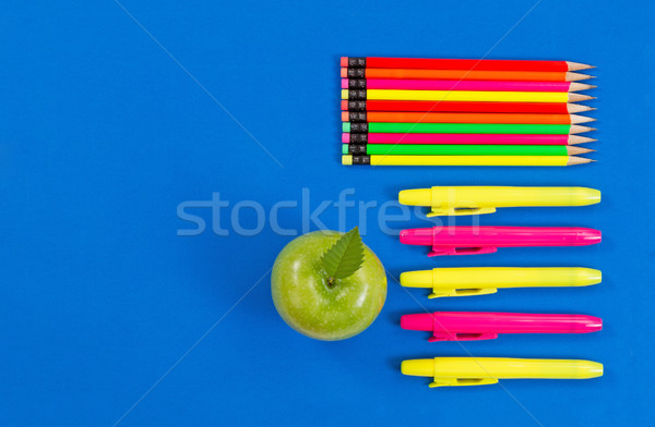 Supplies for office or back to school on blue background Stock photo © tab62