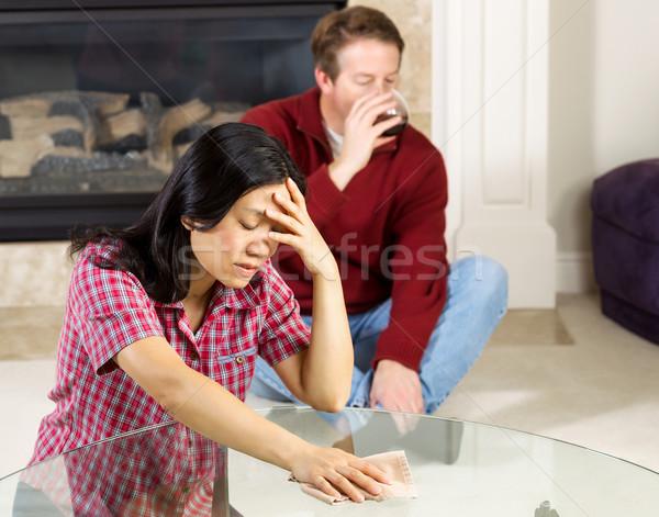 Mature Woman Depressed due to alcoholic Husband  Stock photo © tab62