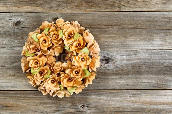 Birch wood wreath on weathered wood  Stock photo © tab62