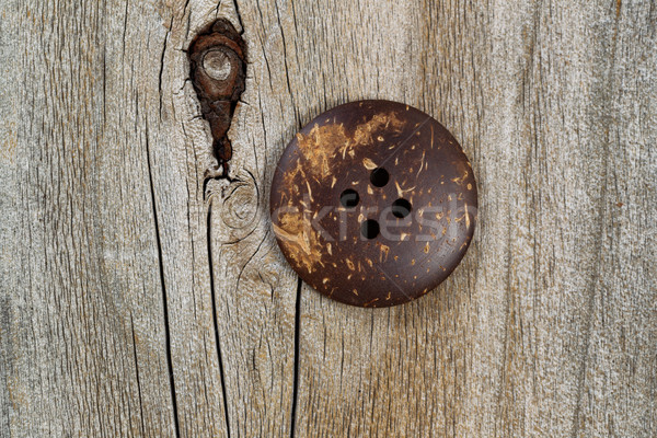 Old clothing button on rustic wood Stock photo © tab62