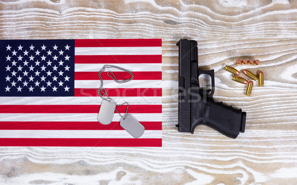 USA Flag with military equipment on faded white wood background  Stock photo © tab62