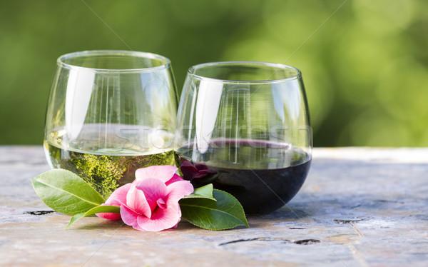 Vermelho vinho branco flor-de-rosa ao ar livre horizontal foto Foto stock © tab62