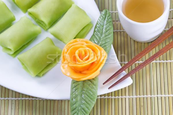 Chinois desserts thé vert haut vue Photo stock © tab62