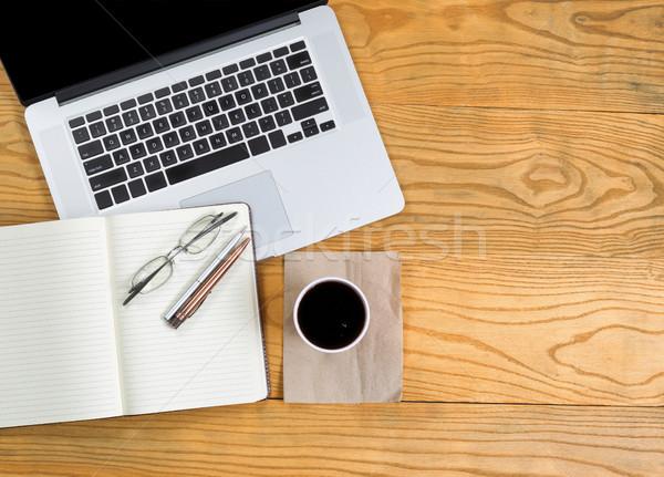 Computer schrijven tools donkere koffie top Stockfoto © tab62