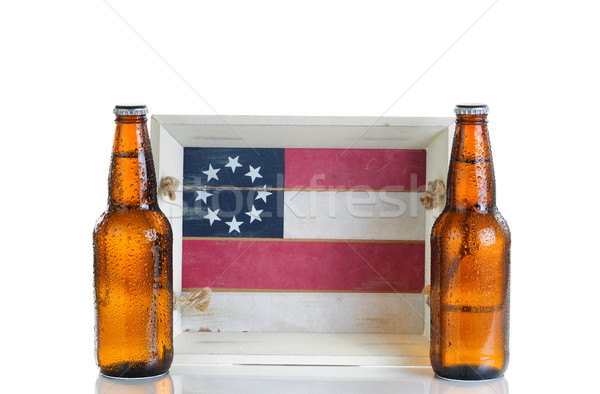 Holiday food and drink serving tray with cold beer isolated on w Stock photo © tab62