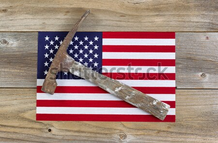 USA national colors with flag and military cap plus ID tags on w Stock photo © tab62