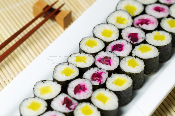 Fresh Hand Rolled Pickled Sushi in Large White Plate  Stock photo © tab62