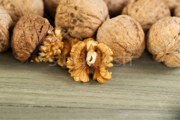 Fresh Walnuts on faded wood  Stock photo © tab62