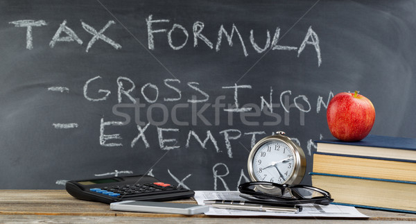 Desktop and chalkboard for learning how to do income taxes in cl Stock photo © tab62