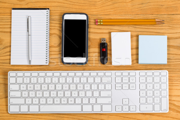 Organized desktop with stationery and tools for daily work Stock photo © tab62