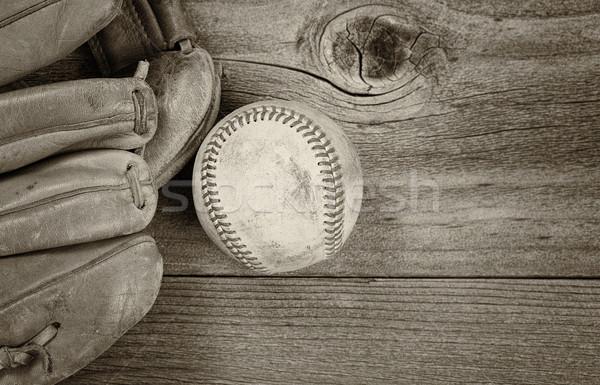 Vintage baseball Equipment on Rustic Wood  Stock photo © tab62