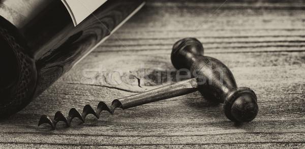 Vintage wijnfles rustiek hout antieke Stockfoto © tab62