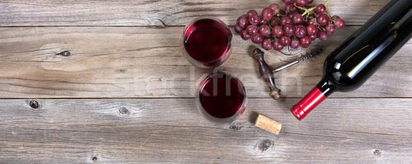 ボトル 赤ワイン 眼鏡 ブドウ 素朴な 木材 ストックフォト © tab62