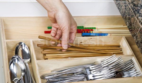 Szervez konyha fiók női kéz szőlőszüret Stock fotó © tab62