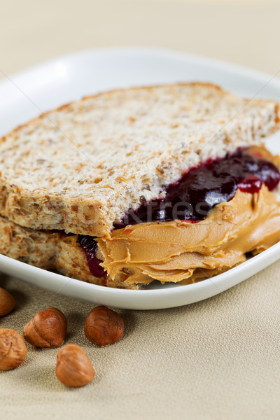 Stock photo: Ready to Eat Peanut Butter and Jelly Sandwich