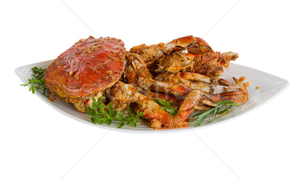 Spicy cooked crab ready to serve on white background Stock photo © tab62