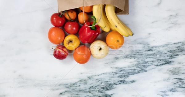 新鮮果物 野菜 外に 袋 表示 ストックフォト © tab62