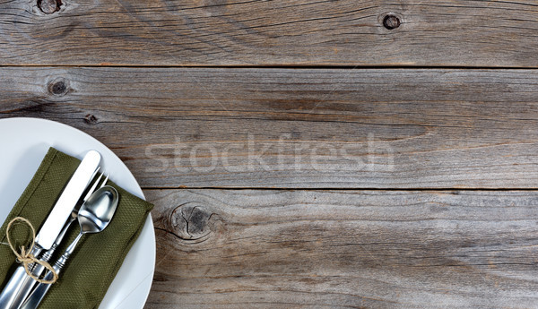 Vintage dinnerware on rustic wooden table Stock photo © tab62