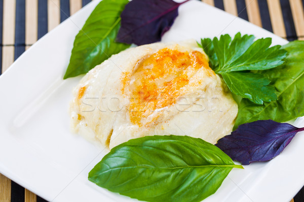 Stock photo: Baked Stuffed Sole Fish with Herbs on side