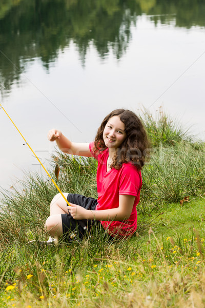 Young Girl Sitting Down and Catching Fish on the Lake  Stock photo © tab62