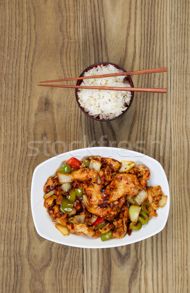 Çin baharatlı tavuk yemek pirinç çanak Stok fotoğraf © tab62