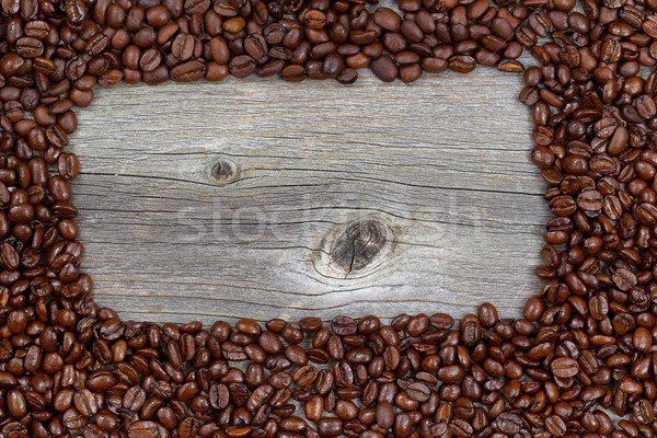 Fronteira grãos de café madeira Foto stock © tab62