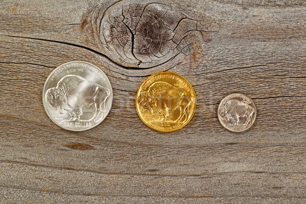 American Buffalo Coins on rustic wooden background Stock photo © tab62