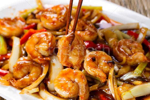 Foto stock: Caril · camarão · pimentas · branco · prato